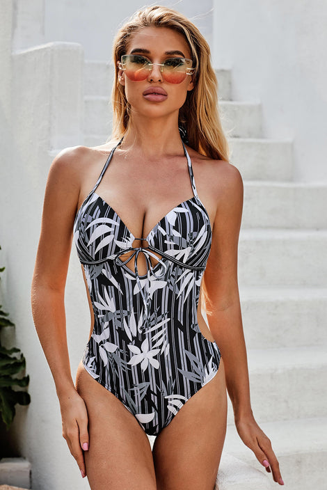 Black Printed Sweetheart Monokini