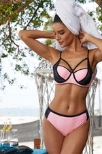 Pink Color Block Strappy Bikini Swimsuit
