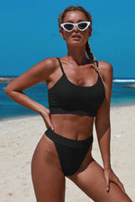 Black Two-piece Knit Textured Crop Bikini Set