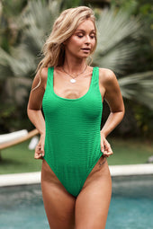 Verde Textured Open Back One-piece Swimsuit
