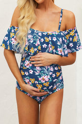 Azul Floral Ruffle Trim Ruched One-Piece Maternity Swimsuit