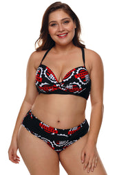 Plus Talla Stars Print Pleated Bikini Swimsuit