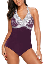 Purple Halter Dot Print One Piece Swimwear