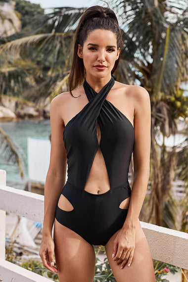 Black Cross Halter Neck Hollow Out One-piece Swimswear