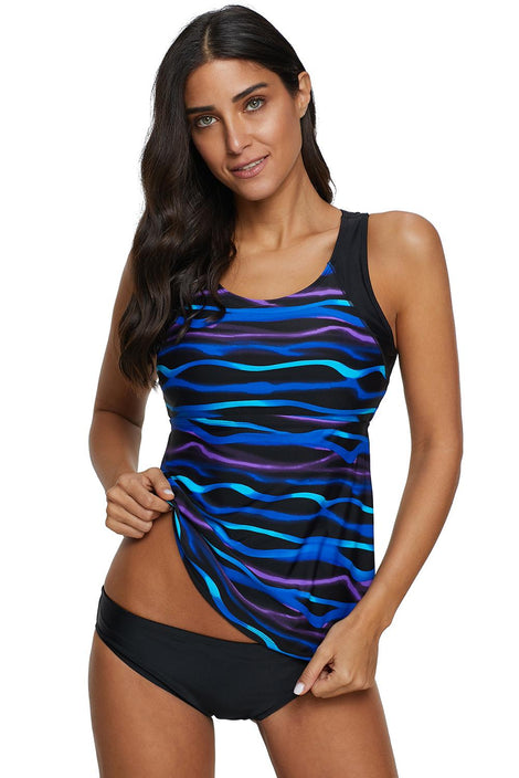 Printed Tankini Top with Triangle Briefs Swimsuit