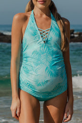 Teal Palms Crisscross Maternity Tankini Halter Top