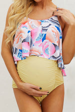 Amarillo Floral Top Ruched Maternity One-piece Swimsuit
