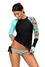 ContrastAzul Detail Long Sleeve Tankini Swimsuit