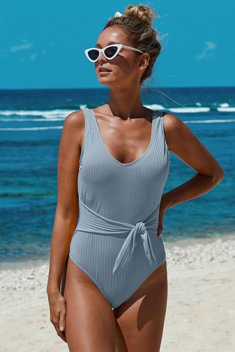 SkyAzul Scoop Neck Tie Waist Ribbed Women Maillot