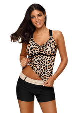 Animal Print Strappy Back Tankini Top