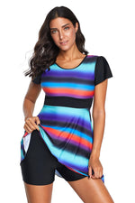 Tie Dye Ombre Striped Swimdress Tankini