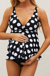 Negro Dot Print Ruffled LayeRojo Maternity Swimsuit