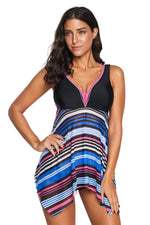 Multicolor V Neck Striped Asymmetrical Hem Tankini Swimsuit