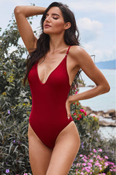 Rojo V Neck One Piece Swimsuit