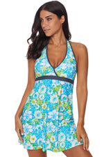 Green High Waist Swim Dress with Panty