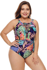 Colorful Tropical Jungle Crisscross Plunge V Neck Plus Maillot Swimwear