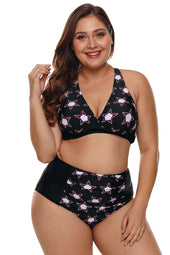 Black 2pcs Starry High Waisted Bathing Suit