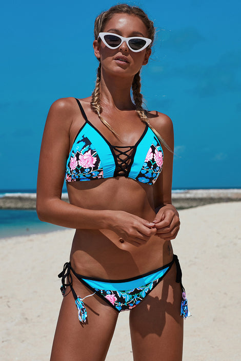 Celeste Damask Floral Two Piece Bikini Swimsuit