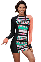 Asymmetric Long Sleeve Print Accent One-piece Rashguard