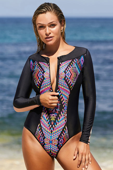 Purple Aztec Print One-piece Swimwear