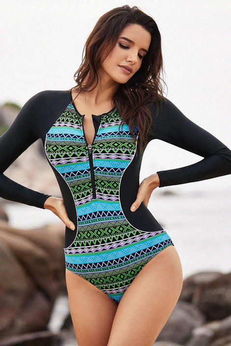 Greenish Tribal Hourglass Rashguard One Piece Swimsuit