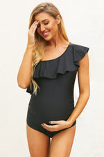 Negro Ruffle Front One Shoulder Maternity Swimsuit