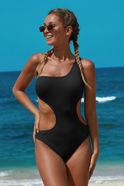 Black One Shoulder Cut Out Maillot