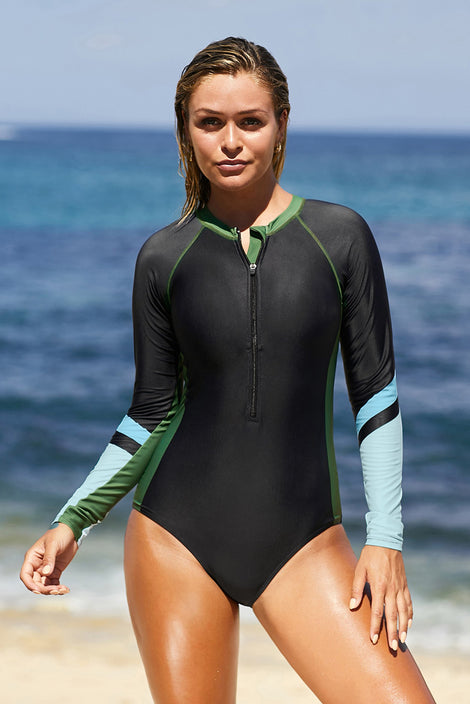 Green Sport Sculpt Long Sleeve Zip Front Rashguard Swimsuit