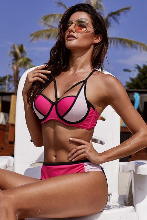 Rose Color Block Strappy Bikini Swimsuit