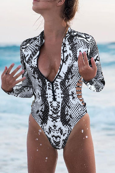 Gray Snake Print Zipper Cut-out Rash Guard Swimsuit