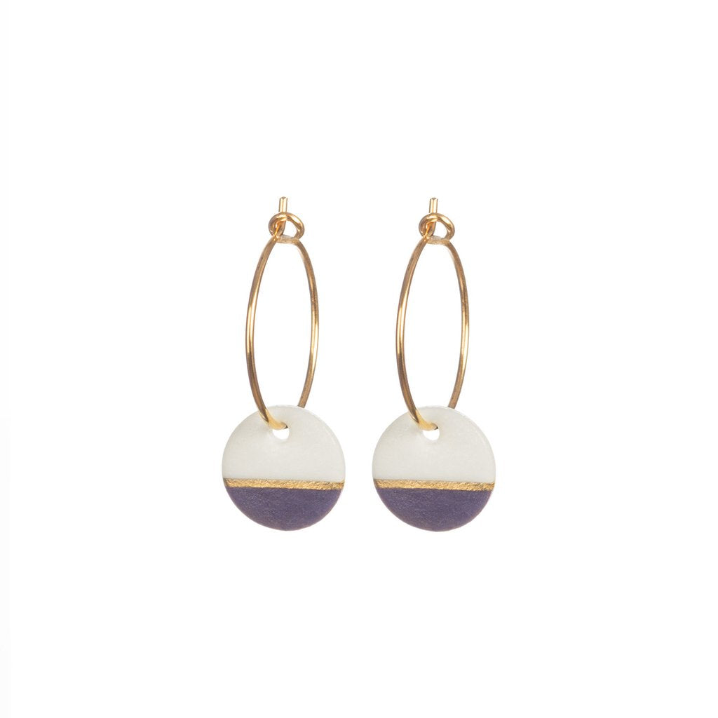 Porcelain Damson Dipped on gold hooped earring The Voewood - The Voewood