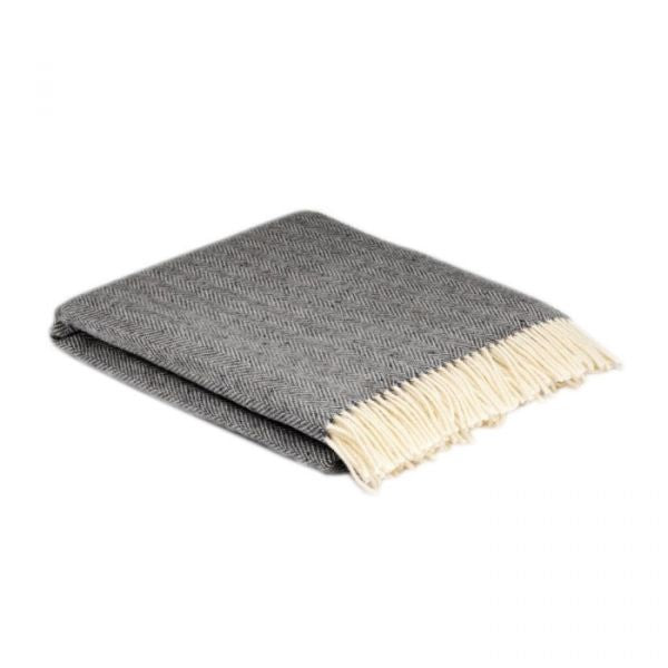 Mcnut Of Donegal Dark grey and Linen Reversible Cashmere Wrap