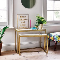 Marble & Brass Nesting Table Set