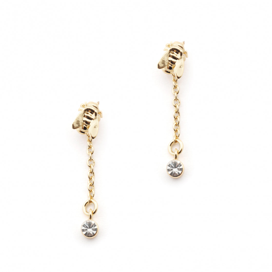 Bill Skinner Hexagon Bee Crystal Drop Earrings