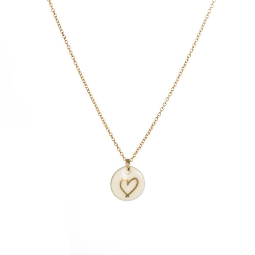 Porcelain Gold Heart Necklace The Voewood - The Voewood