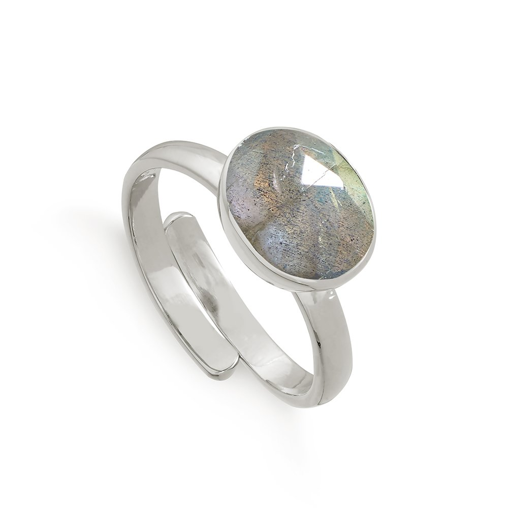 SVP Labradorite Atomic Midi Sterling Silver Adjustable Ring