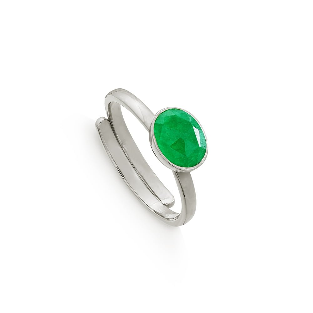 SVP Emerald Quartz Mini Sterling Silver Adjustable Ring