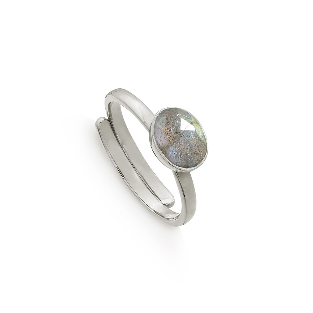 SVP Labradorite Atomic Mini Sterling Silver Adjustable Ring