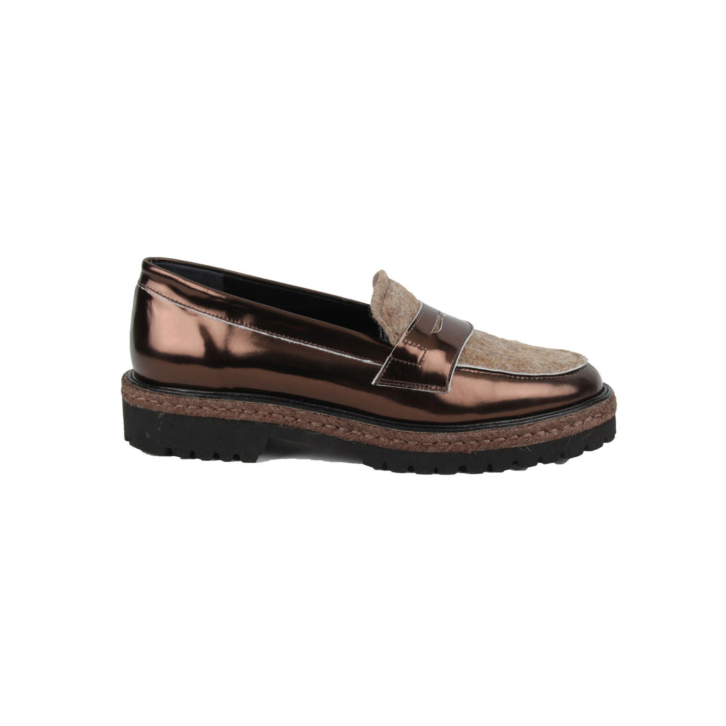 Metallic Bronze Leather Loafer By Lolo At The Voewood