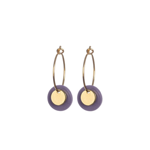Porcelain Damson and Gold Double Disc Earrings The Voewood - The Voewood