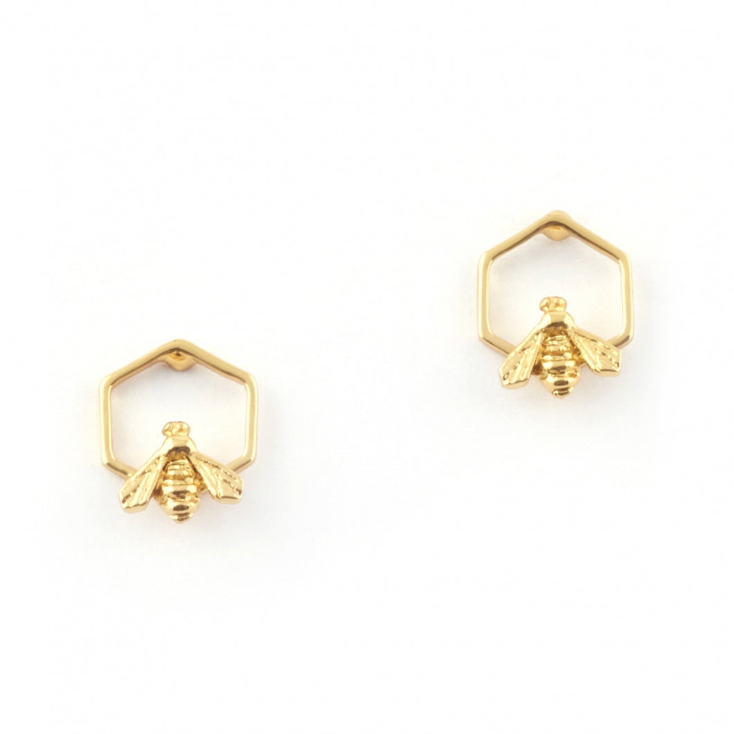 Bill Skinner Hexagon Bee Studs