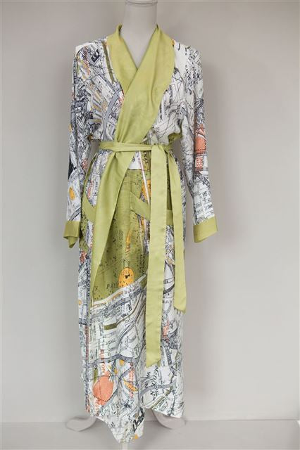 London Map Dressing Gown (green) by One Hundred Stars