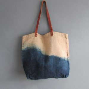 Organic Tote with Leather Handles