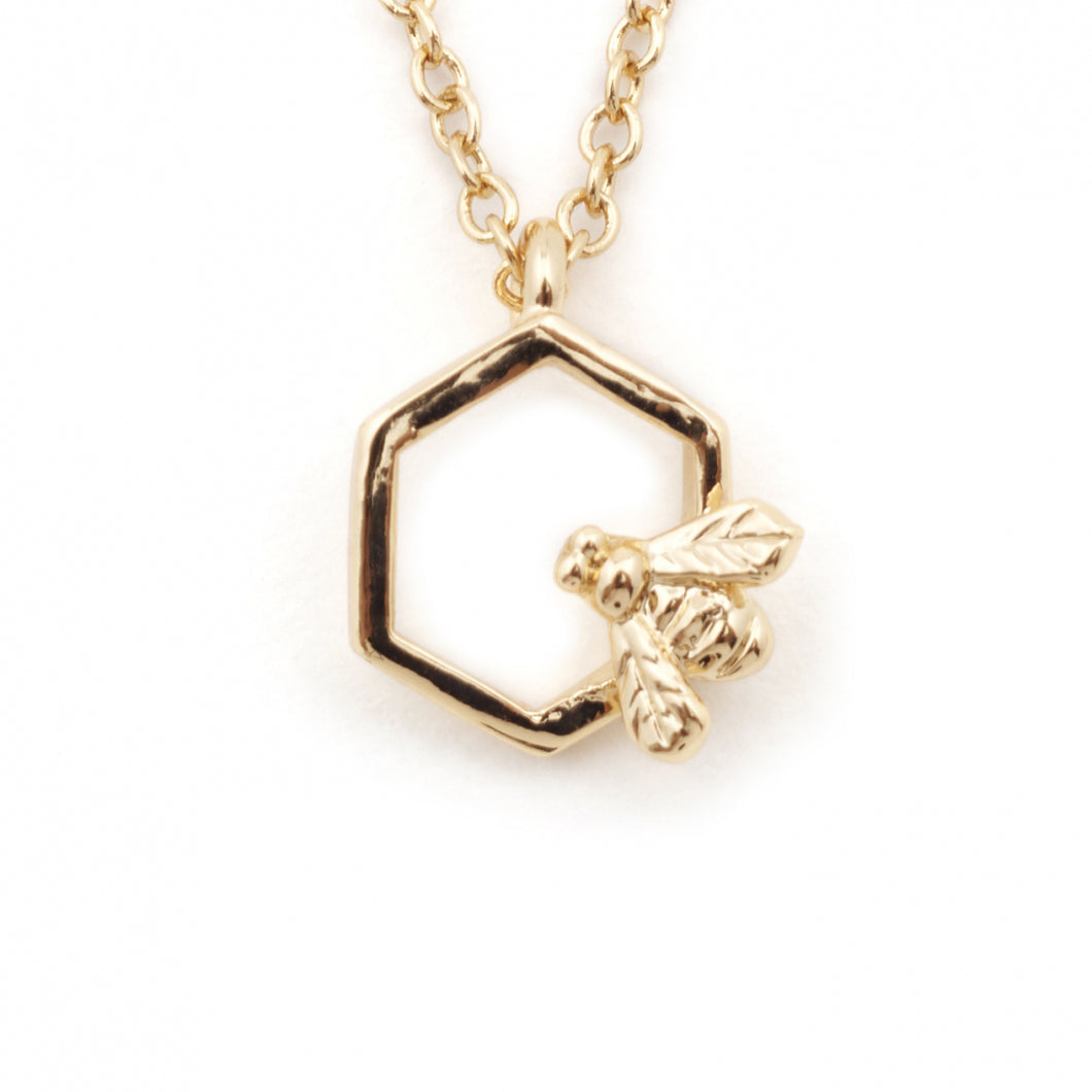 Mini Bee Hexagon Necklace