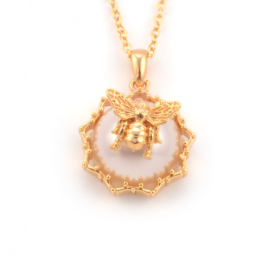 Bee Filigree Pearl Necklace