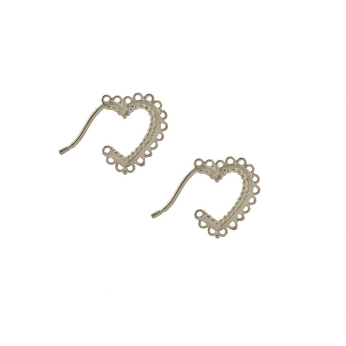 Alex Monroe Lace Heart Hoop Earrings