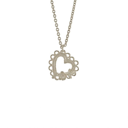 Lace-Edged Heart & Flower Necklace
