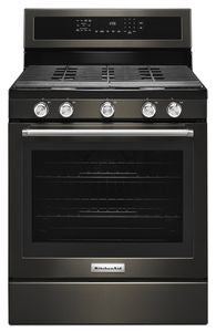 Kitchen Aid KFGG500EBS GAS, GAS OVEN, TRUE CONVECTION, 5.8 CU FT., AQUALIFT, HIDDEN BAKE, WARMING DRAWER, 5 COOKTOP BURNERS, PANORAMIC WINDOW