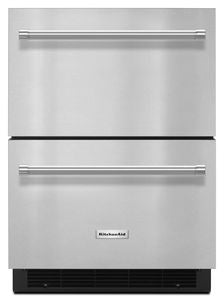 Kitchen Aid  KUDF204ESB  4.7 CU FT., 1 REFRIGERATOR DRAWER, 1 FREEZER DRAWER, STAINLESS STEEL INTERIOR, LED LIGIHTNG, 1 DIVIDER PER DRAWER, DOOR ALARM, BLACK GRILL, ELECTRONIC TEMPERATURE CONTROL, CONTROL LOCKOUT