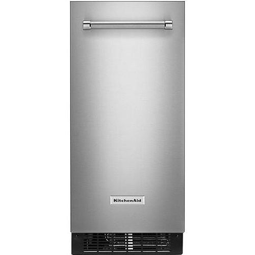 Kitchen Aid  KUIX535HPS  ICEMAKER - 15'' WIDE, **FLUSH INSTALL WITH ARTICULATING HINGE** CLEAR ICE TECHNOLOGY, INTEGRATED FILTER, PROFESSIONALLY INSPIRED DESIGN, MAX ICE FEATURE, FACTORY INSTALLED DRAIN PUMP;  HOLDS 25 LBS OF ICE.